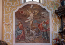 12th Stations of the Cross. Jesus dies on the cross stock image