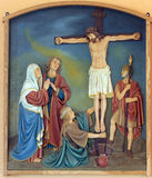 12th Stations of the Cross, Jesus dies on the cross. Church of the Blessed Aloysius Stepinac in Budasevo, Croatia Stock Photos