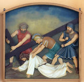7th Stations of the Cross, Jesus falls the second time. Church of the Blessed Aloysius Stepinac in Budasevo, Croatia Stock Photo