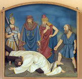 9th Stations of the Cross, Jesus falls the third time Royalty Free Stock Image