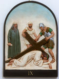 9th Stations of the Cross, Jesus falls the third time. Holy Trinity church in Hrvatska Dubica, Croatia royalty free stock photo