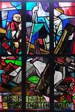 9th Stations of the Cross, Jesus falls the third time. Stained glass window in Saint Lawrence church in Kleinostheim, Germany Royalty Free Stock Images