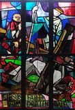 9th Stations of the Cross, Jesus falls the third time. Stained glass window in Saint Lawrence church in Kleinostheim, Germany Stock Photography
