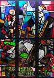 9th Stations of the Cross, Jesus falls the third time. Stained glass window in Saint Lawrence church in Kleinostheim, Germany Stock Image