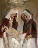 14th Stations of the Cross, Jesus is laid in the tomb and covered in incense royalty free illustration
