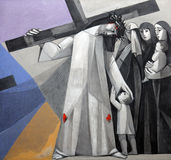 8th Stations of the Cross, Jesus meets the daughters of Jerusalem. Church of the Holy Trinity on July 18, 2013 in the Bavarian village of Gemünden am Main, in Stock Image