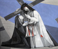 6th Stations of the Cross, Veronica wipes the face of Jesus. Church of the Holy Trinity on July 18, 2013 in the Bavarian village of Gemünden am Main, in the Royalty Free Stock Photos