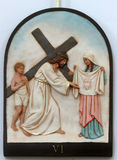 6th Stations of the Cross, Veronica wipes the face of Jesus Stock Photography