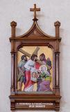6th Stations of the Cross, Veronica wipes the face of Jesus. Mother Teresa cathedral in Vau i Dejes, Albania stock photos