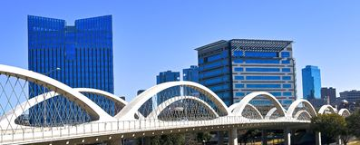 Fort Worth, Texas Downtown. The 7th Street Bridge and Skyline of Downtown Fort Worth, Texas. The 7th street bridge connect the business district to the cultural stock photos