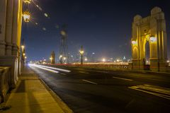 4th Street Bridge at night, Los Angeles. 4th Street Bridge at night in Los Angeles. We can also see the city hall building Royalty Free Stock Photography