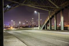 6th Street Bridge at night, Los Angeles. 6th Street Bridge at night in Los Angeles. Unfortunately this bridge was demolished last year This bridge is also iconic stock photos
