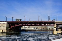18th Street Bridge. This is a Winter picture of the 18th Street Bridge over a ice strewn South Branch of the Chicago River located in Chicago, Illinois in Cook Stock Photos