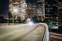 5th Street and buildings in Los Angeles at night  Royalty Free Stock Photography