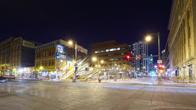 16th Street Mall at night. Denver, USA - November 3, 2016: 16th Street Mall at night, famous pedestrian and free shuttle bus street, where numerous shops Stock Photography