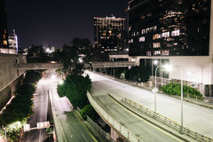 4th Street at night, in downtown Los Angeles  Royalty Free Stock Photo
