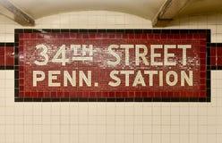 34th Street Penn. Station - New York City Subway. New York City - August 7, 2015: 34th Street Penn. Station New York City Subway sign in the 34th Street station Stock Photography