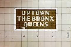 34th Street Subway Station - New York City. New York City - August 8, 2017: Uptown sign at the 34th Street Subway Station in Midtown Manhattan, New York City royalty free stock photos