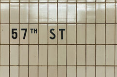 57th Street Subway Tiles Stock Photos