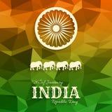 26th Stycznia India republiki dnia tekst na trójgraniastym tle Zdjęcia Stock