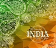 26th Stycznia India republiki dzień Kartka z pozdrowieniami z Paisley ornamentem Zdjęcie Stock