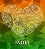 26th Stycznia India republiki dzień Kartka z pozdrowieniami z Paisley ornamentem Obraz Royalty Free