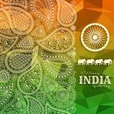 26th Stycznia India republiki dzień Kartka z pozdrowieniami z Paisley ornamentem Obrazy Royalty Free