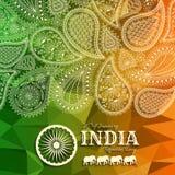 26th Stycznia India republiki dzień Kartka z pozdrowieniami z Paisley ornamentem Zdjęcia Royalty Free