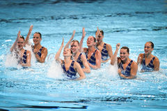 15th syncro för Fina världsmästerskap som simmar det tekniska laget Royaltyfri Bild