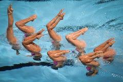 15th Syncro för Fina världsmästerskap som simmar det tekniska laget Fotografering för Bildbyråer