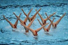 15th syncro för Fina världsmästerskap som simmar det tekniska laget Royaltyfria Bilder