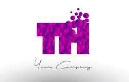 TH T H Dots Letter Logo con textura púrpura de las burbujas Fotografía de archivo libre de regalías