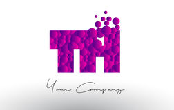 Th T H Dots Letter Logo met Purpere Bellentextuur Royalty-vrije Stock Fotografie