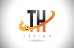TH T H Letter Logo with Fire Flames Design and Orange Swoosh. Royalty Free Stock Image