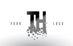 TH T H Pixel Letter Logo with Digital Shattered Black Squares Stock Photos