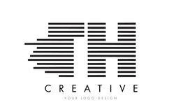 TH T H Zebra Letter Logo Design with Black and White Stripes Stock Photography