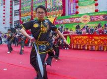 The 14th Tai Kok Tsui temple fair in Hong Kong. HONG KONG - MARCH 04 : Martial arts demonstration during the 14th Tai Kok Tsui temple fair in Hong Kong on March Stock Image