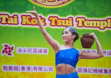 The 14th Tai Kok Tsui temple fair in Hong Kong. HONG KONG - MARCH 04 : Participant in the 14th Tai Kok Tsui temple fair in Hong Kong on March 04 2018. The Royalty Free Stock Photo