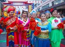 The 14th Tai Kok Tsui temple fair in Hong Kong. HONG KONG - MARCH 04 : Participants in the 14th Tai Kok Tsui temple fair in Hong Kong on March 04 2018. The Stock Photos