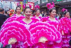 The 14th Tai Kok Tsui temple fair in Hong Kong. HONG KONG - MARCH 04 : Participants in the 14th Tai Kok Tsui temple fair in Hong Kong on March 04 2018. The Stock Photography