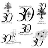 30th teckensamling för årsdag Royaltyfri Fotografi