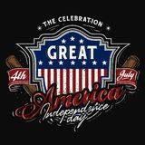 4th tema f?r juli Amerika emblembaseball royaltyfri illustrationer