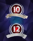 10th 12th anniversary celebrating classic logo design sil. Ver premium on blue background Vector Illustration