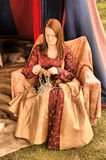13th or 14th Century Lady Sewing Royalty Free Stock Images