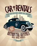 1930th - 1970th retro car rentals design. Royalty Free Stock Photo