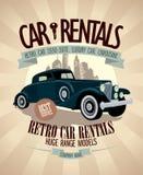 1930th - 1970th retro car rentals design. 1930th - 1970th retro car rentals design with vintage car royalty free illustration