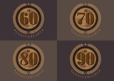 60th anniversary celebrating classic logo design set. 60th 70th 80th 90th anniversary celebrating classic logo design set stock illustration