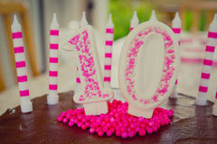 10th Urodzinowego torta dekoracja Obraz Royalty Free