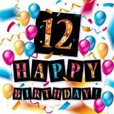 12th Urodzinowy świętowanie z kolorów balonami Fotografia Stock