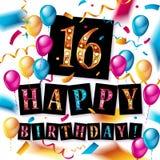 16th Urodzinowy świętowanie z kolorów balonami Zdjęcia Royalty Free